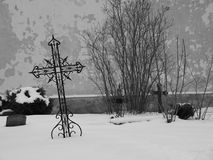 Graveyard. On a calm winter day, black and white image royalty free stock photos
