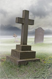 Graveyard. Misty Graveyard with Stone Cross royalty free stock image