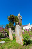 Graveyard on Alderney. Graveyard and tombstones in the village of St. Anne, Alderney, Channel Islands, UK royalty free stock photography