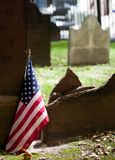 Graveyard with American flag Royalty Free Stock Photo
