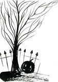 Graveyard. Art freehand watercolor sketch outline illustration of black halloween holiday pumpkin with scary face fence bare tree on graveyard on white Royalty Free Stock Image