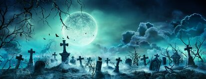 Free Graveyard At Night - Spooky Cemetery Royalty Free Stock Photo - 195602755