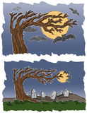Graveyard and Bats. Vector art in Illustrator 8. A graveyard and bats under a full moon, what could be more Halloweeny! Outline, color and background on separate Royalty Free Stock Image