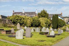 Graveyard with blank tombstones. Stock Photos