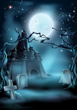 Graveyard and Castle Halloween Background. Halloween scary castle graveyard background with a spooky haunted castle, spooky trees and graves and a full moon Royalty Free Stock Photography