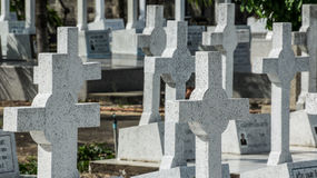 Graveyard. The catholic graveyard in Thailand Royalty Free Stock Images