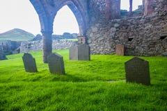 Graveyard cemetery in Peel Castle, Isle of Man. Graveyard cemetery in Peel Castle in Isle of Man Royalty Free Stock Photos