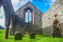 Graveyard cemetery in Peel Castle, Isle of Man. Graveyard cemetery in Peel Castle in Isle of Man Stock Image