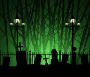 Graveyard cemetery tomb in forest and street lamp Royalty Free Stock Image