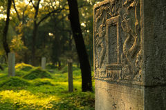 Graveyard of Chinese scholars. Confucius forest in QuFu, Konglin, graveyard of Chinese scholars. Detail of old gravestone Stock Photography