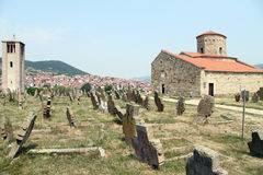 Graveyard and church Royalty Free Stock Photography