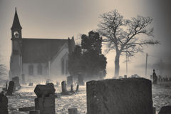 Graveyard Church monochromatic Stock Images