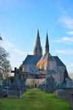 Graveyard and church Royalty Free Stock Image
