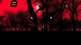 Graveyard with creepy trees on Halloween Stock Photo
