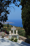 Graveyard in Crete. A grave in a Greek cemetery on the island of Crete stock images