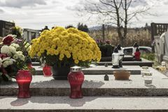 Cemetery, dans of All Saints, All Souls` Day. Graveyard in Croatia. All Saints` Day royalty free stock image