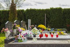 Cemetery, dans of All Saints, All Souls` Day. Graveyard in Croatia. All Saints` Day.n royalty free stock photography