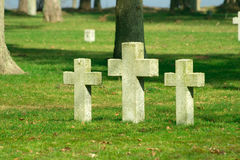 Graveyard crosses on the ground. Crosses inside the churchyard between trees Stock Photos