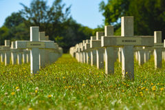 Graveyard in memorium crosses. Graves at the Chasseneuil-sur-Bonnieure National Cemetery and Memorial in Central France Royalty Free Stock Photography