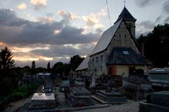 Graveyard at dusk. In Normandy, France Royalty Free Stock Photography