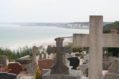 Graveyard between earth and heaven. Graveyard at th top of the coastak cliffs in France Stock Photo