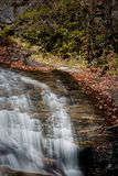 Graveyard Fields waterfall in Autumn in North Carolina Stock Image