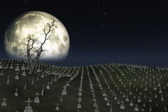 Graveyard with full moon behind,ground fog and tree flowing in the wind, stock footage Royalty Free Stock Photos