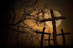 Graveyard. Group of wooden cross on graveyard, night horror landscape whith moon Royalty Free Stock Photography