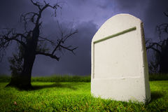 Graveyard at Halloween night Royalty Free Stock Photo