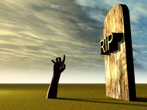 Graveyard Hand 21. This is a spooky graveyard Stock Photo