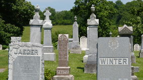 Graveyard Headstones. These graveyard headstones mark the final resting place for many Royalty Free Stock Images
