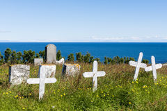 Graveyard at at Hellnear with ocean royalty free stock image