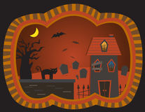 The Graveyard House. Vector illustration of a spooky house, graveyard, bats and a black cat. Eps10 Stock Photography