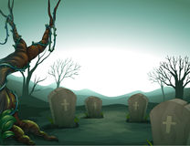 A graveyard. Illustration of a graveyard in the forest Stock Photos