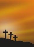 Graveyard. Illustration of three grave crosses at dawn Royalty Free Stock Image