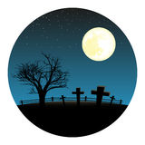 Graveyard with moon Royalty Free Stock Images