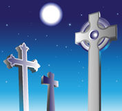 Graveyard at night Stock Photo