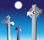 Graveyard at night. Full moon and gravestones in a graveyard at night stock illustration