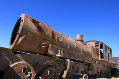 Graveyard Of Rusty Old Trains In Uyuni, Bolivia Stock Photos