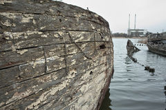 Graveyard of old ships. Royalty Free Stock Images