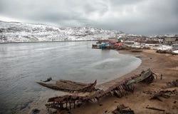 Graveyard of old ships in Teriberka Royalty Free Stock Photo