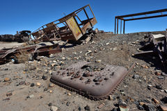 Graveyard of old trains in the desert of Uyuni, Bolivia Stock Image