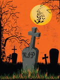 Graveyard on an orange background Royalty Free Stock Photos