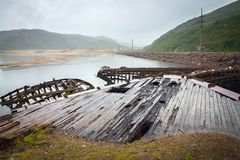 Graveyard of ships in the North beyond the Arctic circle Stock Image