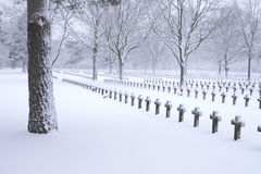 Graveyard in snow Royalty Free Stock Images