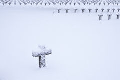 Graveyard in snow Royalty Free Stock Photography