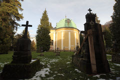 Graveyard with snow - Salzburg, Austria Royalty Free Stock Photo