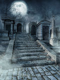 Graveyard stairs. Old gothic graveyard with stone stairs at night stock illustration