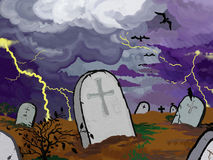 Graveyard Stormy Version Royalty Free Stock Images
