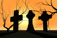 Graveyard in sunset Royalty Free Stock Photos